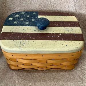 2000 Longaberger Address Basket with  flag lid